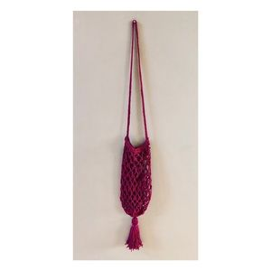 Bags - Handmade pink crossbody crochet purse with tassel